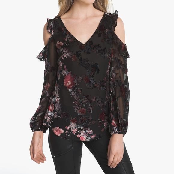 51c114335aa326 WHBM Black Floral Burnout Velvet Cold Shoulder Top.  M 5b4408d33e0caa9129bfbd67